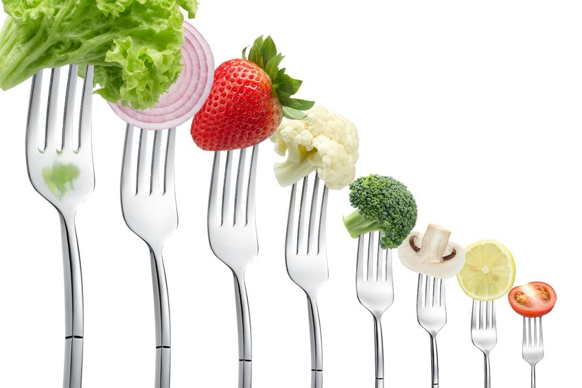 forks with vegetables